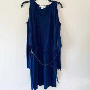 michael kors purple cold shoulder belted dress